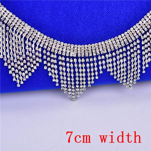 8Inch Rhinestone Tassel Trim for Crafts Sewing-Flower Pattern Rhinestone Chain for Decoration-Applique Flower Rhinestone Chain Sew On Rhinestone-Crystal Rhinestone Chain for Crafts -