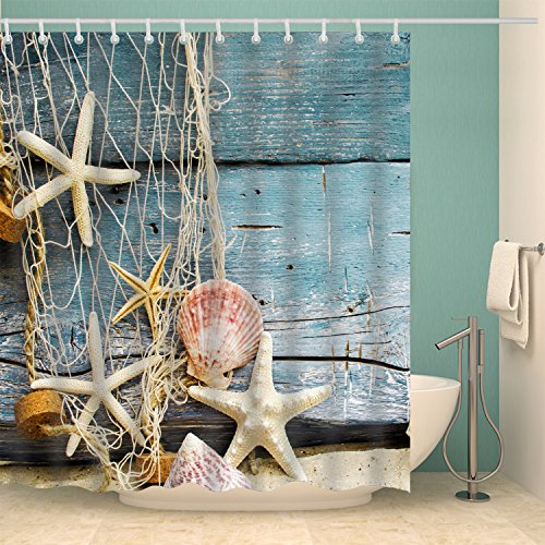 Jibin Bong 72 X 72 Inch Nautical Shower Curtains Sea World Conch Starfish Shell Shower Curtain, Vintage Fishing Nets Beach Ocean Decor Shower Curtains Wood Pattern