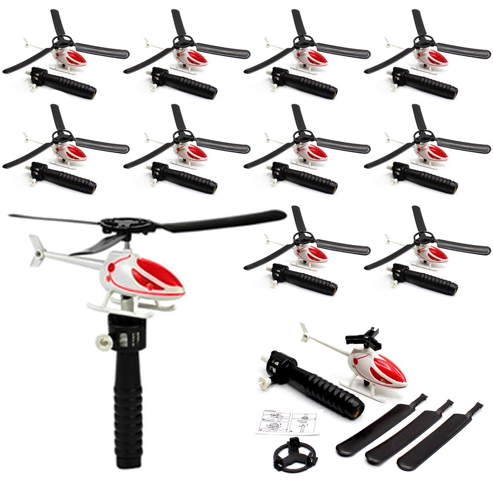 Flying Helicopter - Realistic Pull String Flying Chopper with Launcher (Pack of 12) - Includes Black Launcher and White Helicopter for Kids - Great Party Favors, Fun, Toy, Gift, Prize