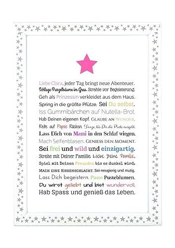 Geschenk für Baby oder Neugeborene - Bild für Mädchen in DIN A4 ...