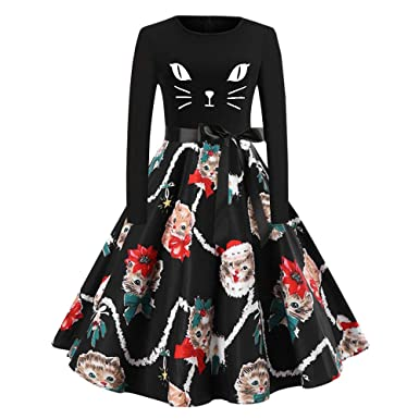 2cc99bc583e1 Amazon.com: FEDULK Christmas Dress for Women, Cats Print Vintage Aline Flared  Ladies Party Dress: Clothing