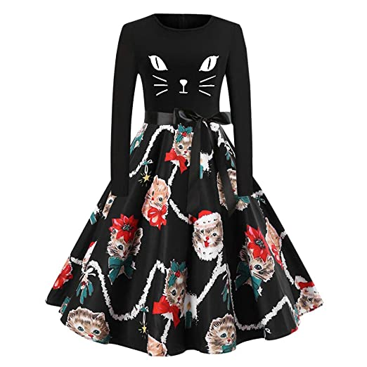 Amazon.com: Women Vintage Party Dress Lady Christmas Long Sleeve Cats Bow Tie Notes Printing Dress: Clothing