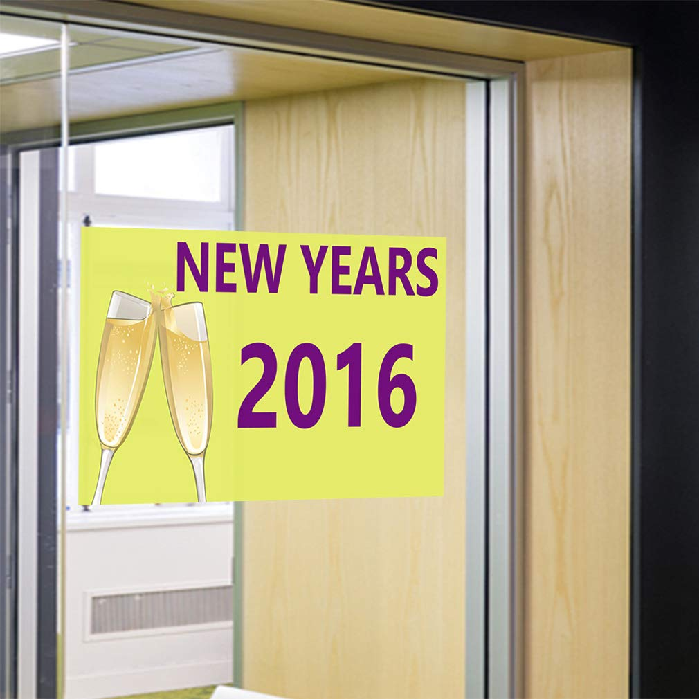 Decal Sticker Multiple Sizes New Years 2016 Holidays and Occasions New Outdoor Store Sign Yellow 54inx36in Set of 2