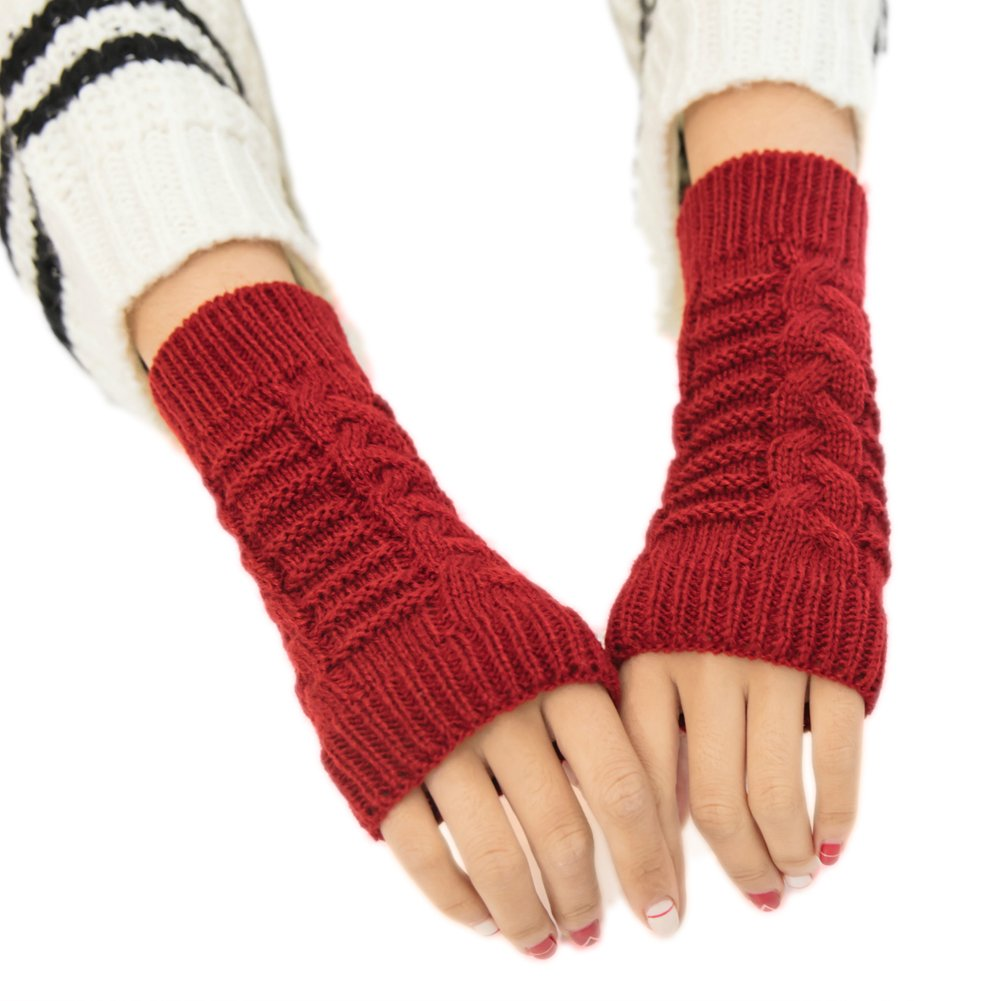 Red Winter Fingerless Gloves Short Sleeve Crochet Arm Warmers ...