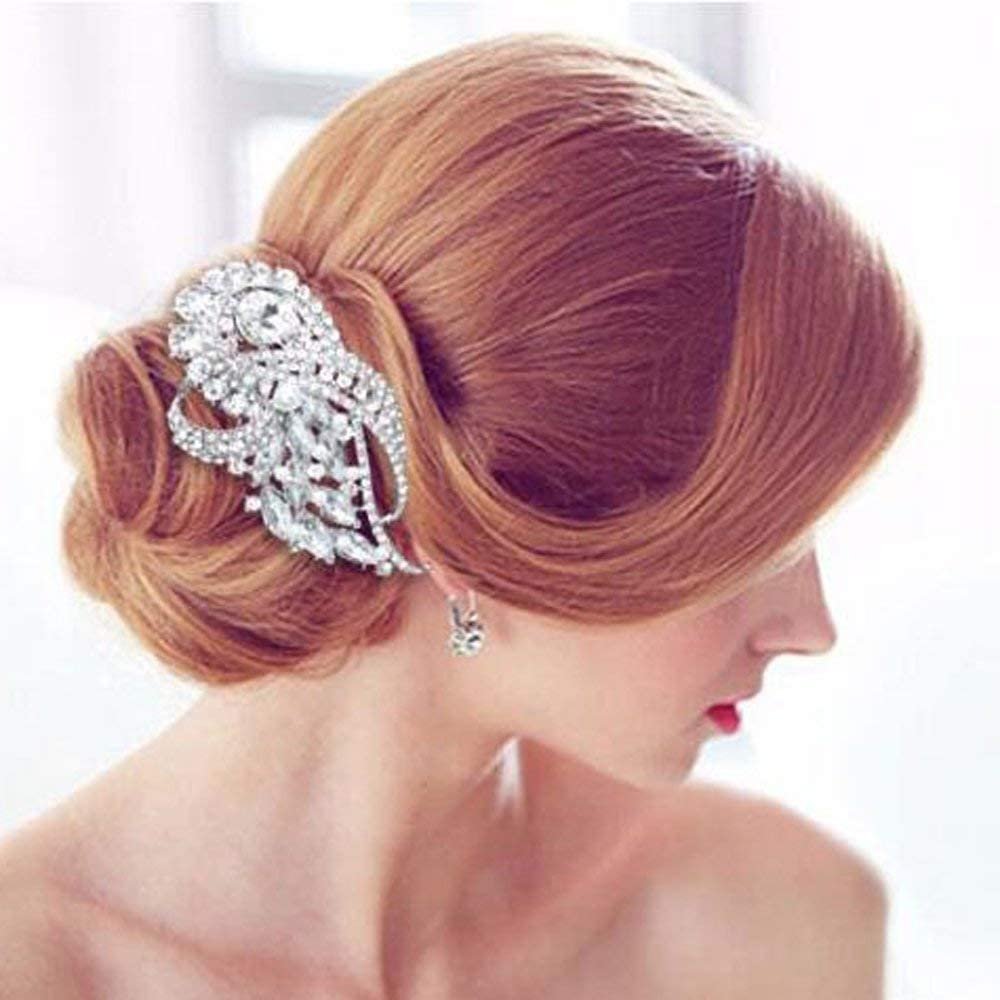 Missgrace Bridal Rhinestone Hair Comb Bridesmaid Wedding Vintage Hair Comb Women Crystal Hair Clip Headpiece for Wedding Party and Special Occasions [並行輸入品]