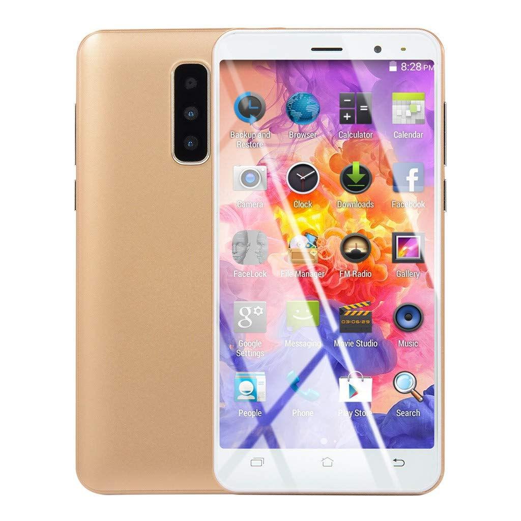 New Smartphone Unlocked 5.0 inch Android Dual HD Camera Mobile Phone 1G RAM+4G ROM GPS 3G Call Touch Screen Cellphone (Gold, 5.0 inches)