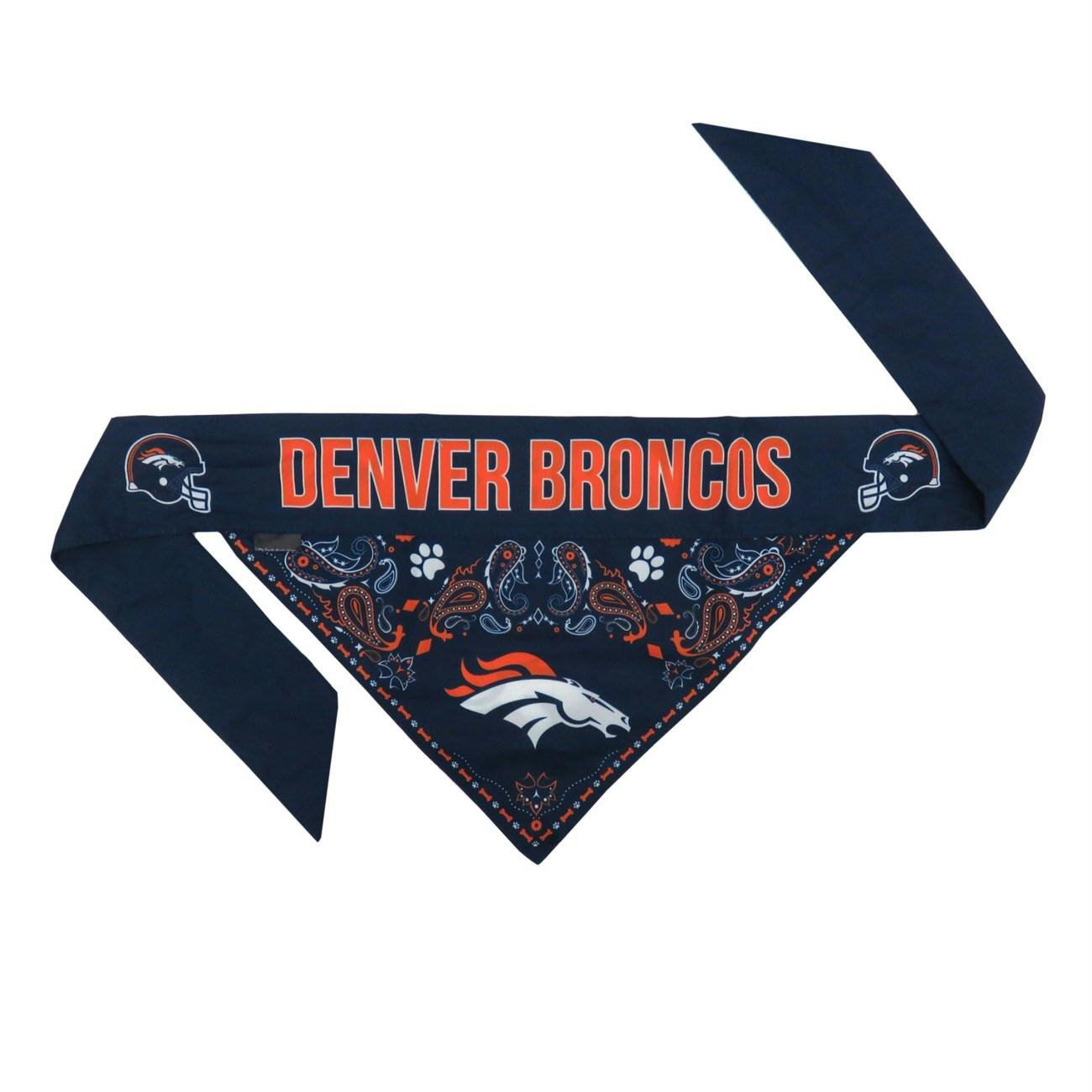 Denver Broncos Pet Reversible Paisley Bandana - Medium
