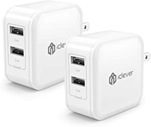 USB Wall Charger for iPhone iPad, 2-Pack iClever Dual Port 24W Travel Tablet Phone Charger Adapter with SmartID for iPhone11/ Pro/iPhoneX/iPhone XR/8/7/6/Plus, iPad Pro/Air 2/Mini 3/Mini 4 and More