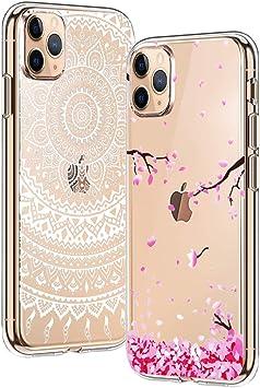 Yoowei [2-Pack] Funda para iPhone 11 Pro MAX, Transparente con Dibujos Ultra Fino Suave TPU Silicona Protector Carcasa para iPhone 11 Pro MAX (Flores de Cerezo, Mandala Blanca): Amazon.es: Electrónica