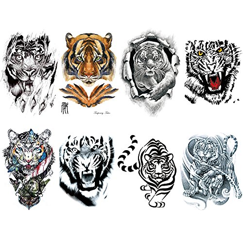 Tiger Temporary Tattoo for men, Teens Guys,kids boys (8 Sheets) by Qufan, Waterproof long lasting Fake Tattoos Stickers for Arms Shoulders Chest & Back- Biker Tattoos 15x21cm/5.9x8.26inches (LxW)