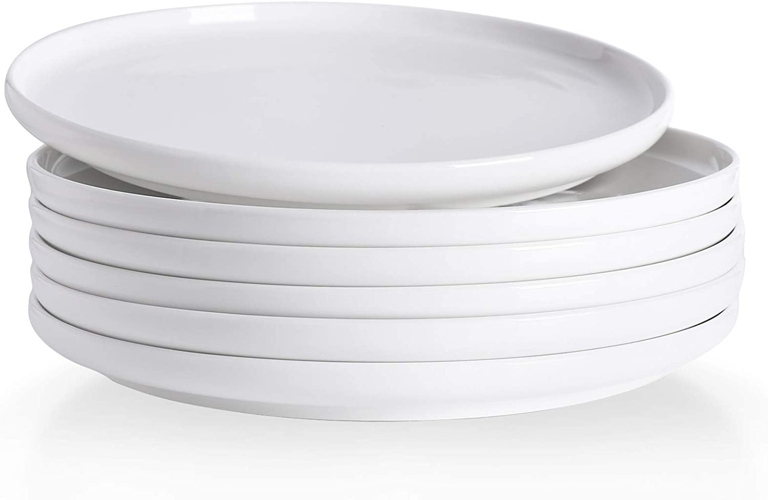 Kanwone Porcelain Dinner Plates - 10 Inch - Set of 6, White, Microwave and Dishwasher Safe Plates