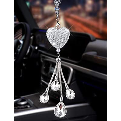 Alonar White Heart and Drops Bling Car Accessories for Mirror,Bling Car Decoration Crystal Car Rear View Mirror Charms Decor,Lucky Hanging Interior Ornament Pendant Sun Catch (White): Automotive