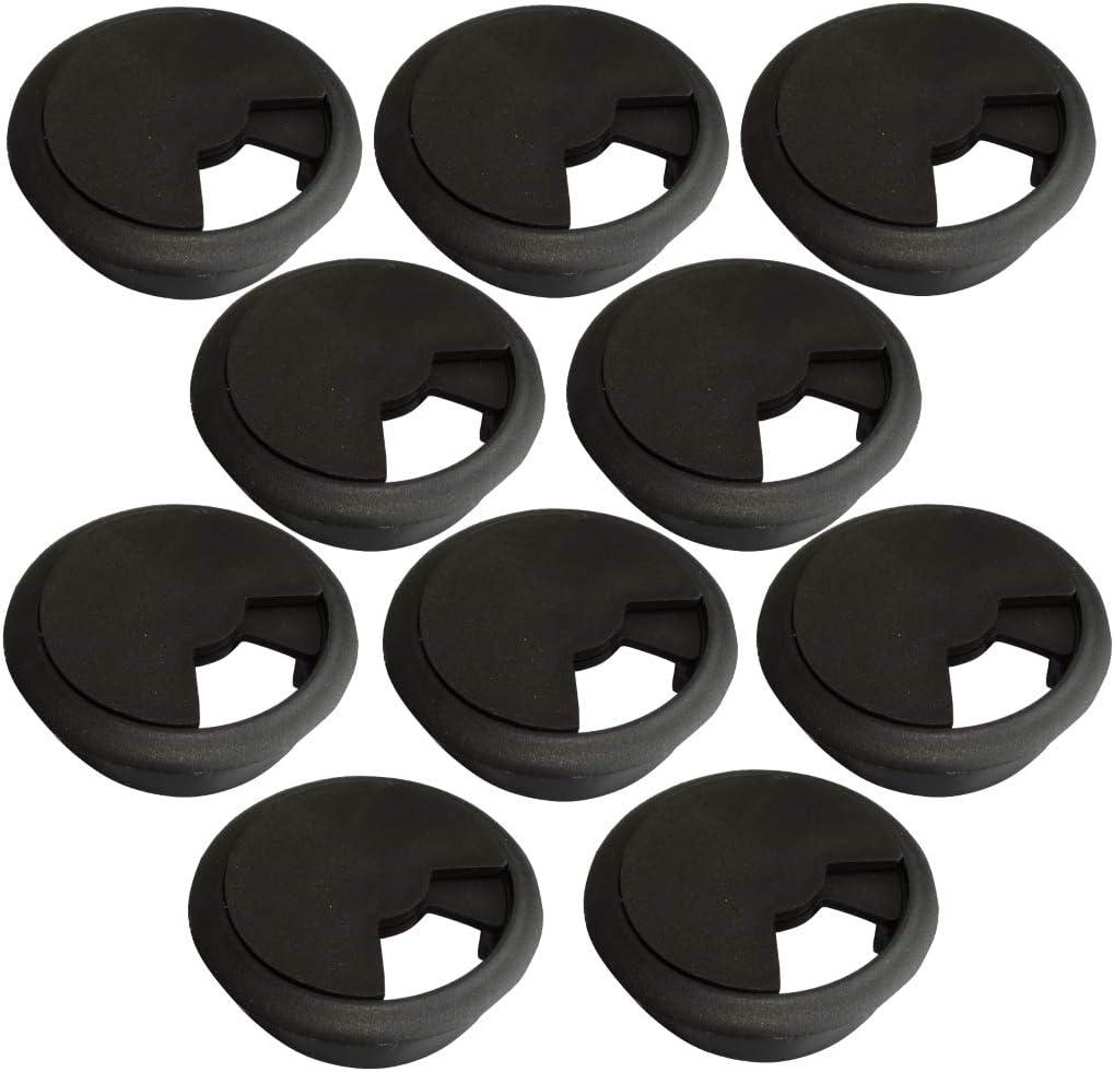 Gris, 10 Piezas Pasacables Redondo de pl/ástico para Muebles de Oficina Apertura 60mm AERZETIX
