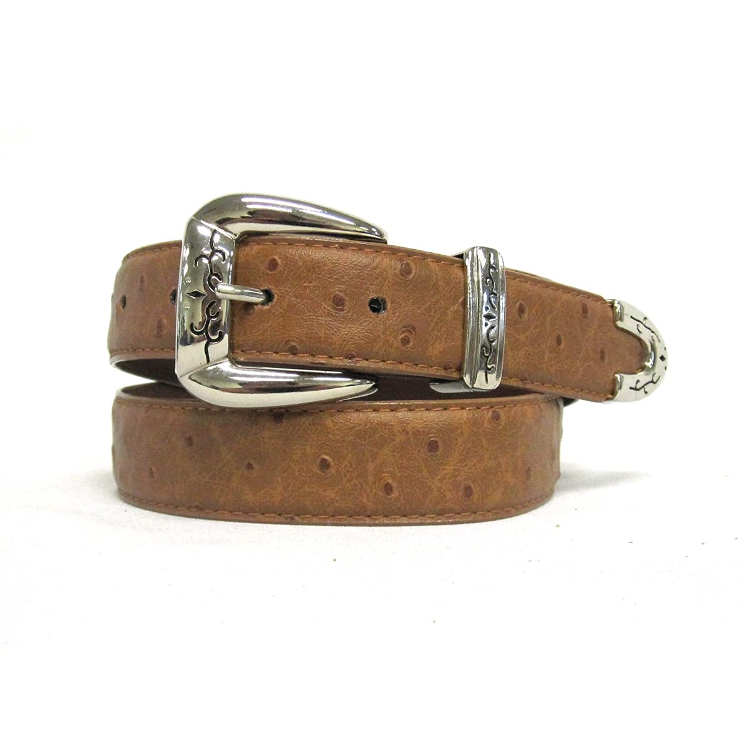 """1 1/8"""" Women's Silver Polished and Sleek Buckle on Quality Ostrich Embossed S..."""