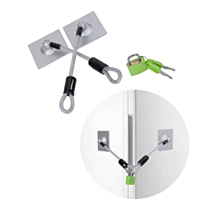 SUHOO Refrigerator Lock, 2 Keys Stainless Steel Fridge Lock Kit with Padlock, Freezer Lock and Child Safety Cabinet Lock with Strong Adhesive(Silver)