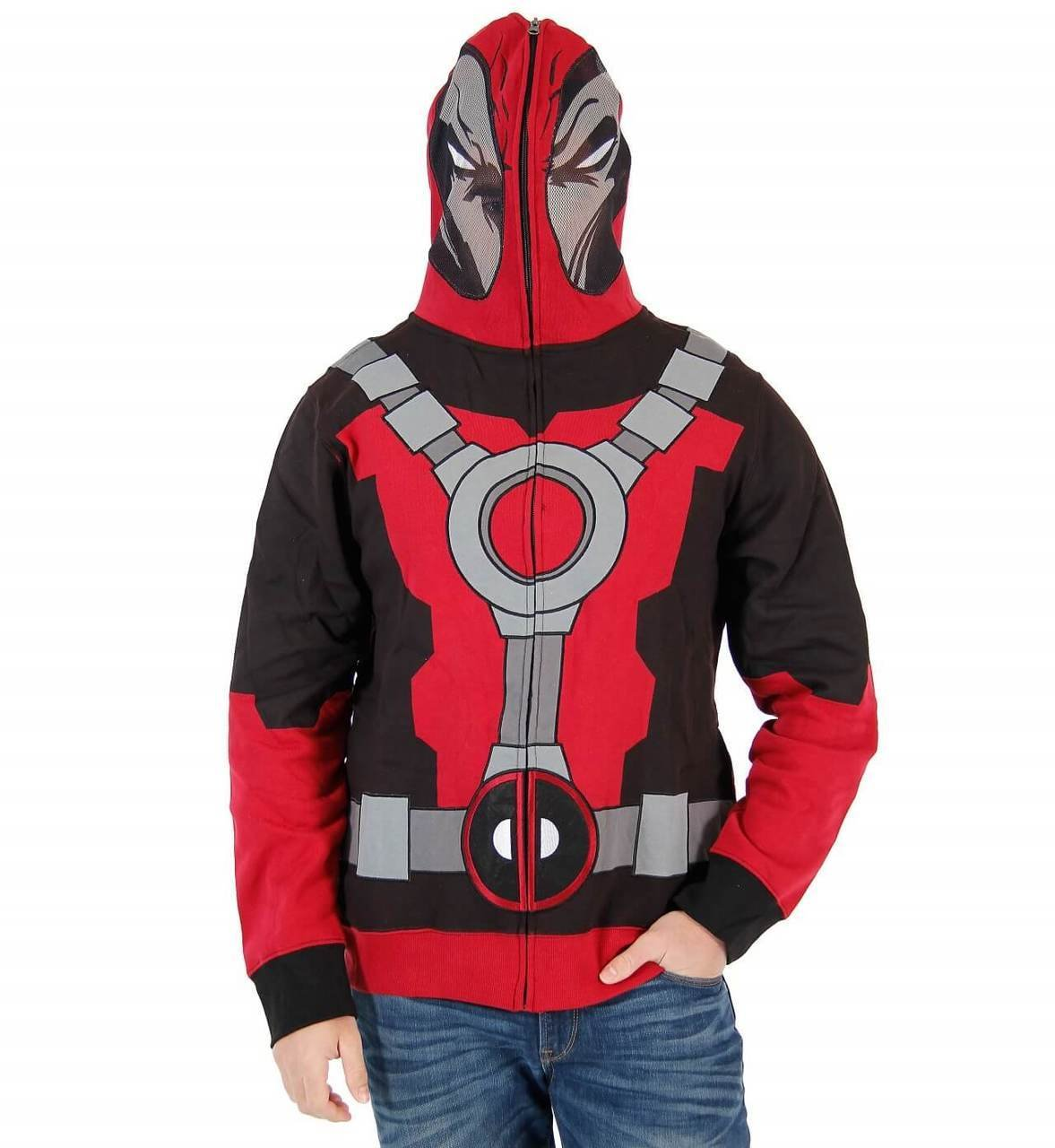 Deadpool - Mr. Pool Adult Costume Zip Hoodie Mens, Red, Medium by Marvel