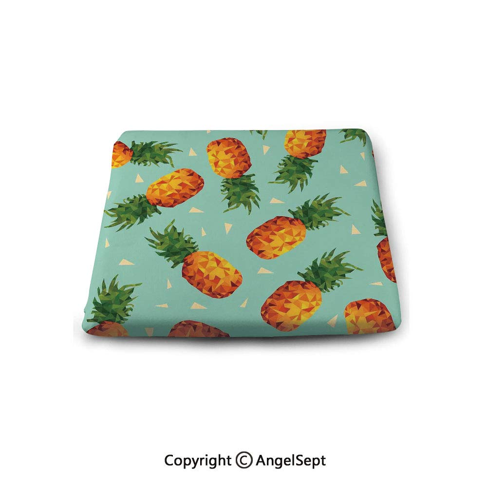 oobon Square Chair Seat Cushion for Kitchen Dining Chairs,Retro,Poly Style Pineapples Motif Vintage Beach Summer Modern Illustration,Seafoam Olive Green Orange,Memory Butt Pad Non Slip