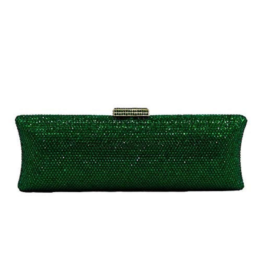 Dazzling Women Crystal Evening Purse Metal Hardcase Wedding Party Minaudiere Handbag Clutch Bag (Green)