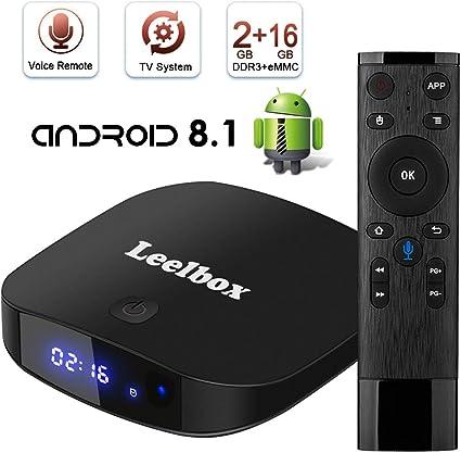 TV Box Android TV Sistema 8.1 - Leelbox Smart TV Box con Mando Inteligente, 2GB RAM & 16GB ROM, widevine L1, 4K*2K UHD H.265, USB*2, WiFi Media Player, Android Set-Top Box: Amazon.es: