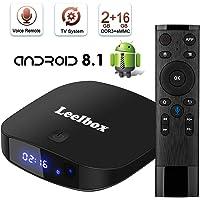 Leelbox TV Box Q2 PRO Android tv 8.1 Vier Kern 2GB RAM+16GB ROM/2.4G WLAN/Volles HD/3D/4K H.265 Android TV Version mit Sprachfernbedienung