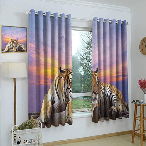Gardome Window Curtain Fabric Safari,Tiger Lying on Wood Blue Sky Colorful Sunset Pose Strpies Claws,Lavander Lilac Beige Mustard,Rod Pocket Curtain Panel