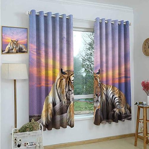 Gardome Window Curtain Fabric Safari,Tiger Lying on Wood Blue Sky Colorful Sunset Pose Strpies Claws,Lavander Lilac Beige Mustard,Rod Pocket Curtain Panel