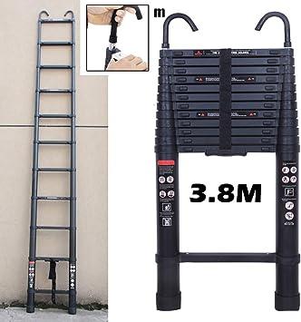 Extensión de 3,8 M multiusos escalera telescópica de aluminio con cierre de seguridad plegable portátil de alta calidad escaleras: Amazon.es: Bricolaje y herramientas