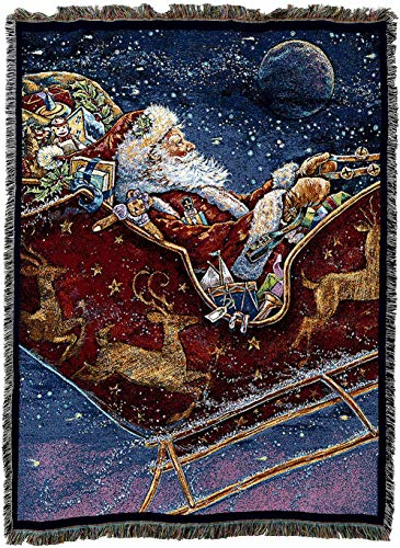 Pure Country Weavers - Santa Midnight Ride Woven Tapestry Throw Blanket with Fringe Cotton USA 72x54
