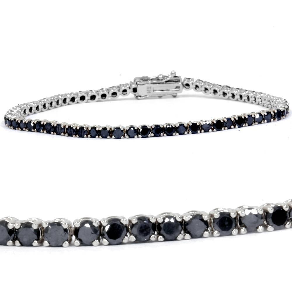 4ct Black Diamond Tennis Bracelet 14K White Gold 7''