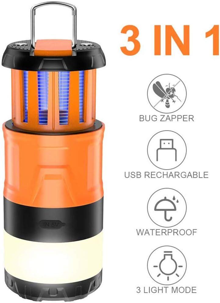 luz de Camping Estirable Bug Zapper Luz de Emergencia Carga USB 5 Modos Brillo Linterna de Camping para Interiores y Exteriores Suszian Linterna de Camping