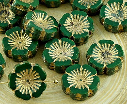 6pcs Picasso Dark Green Gold Wash Czech Glass Flat Carved Table Cut Window Hawaiian Flower Beads Coin 14mm