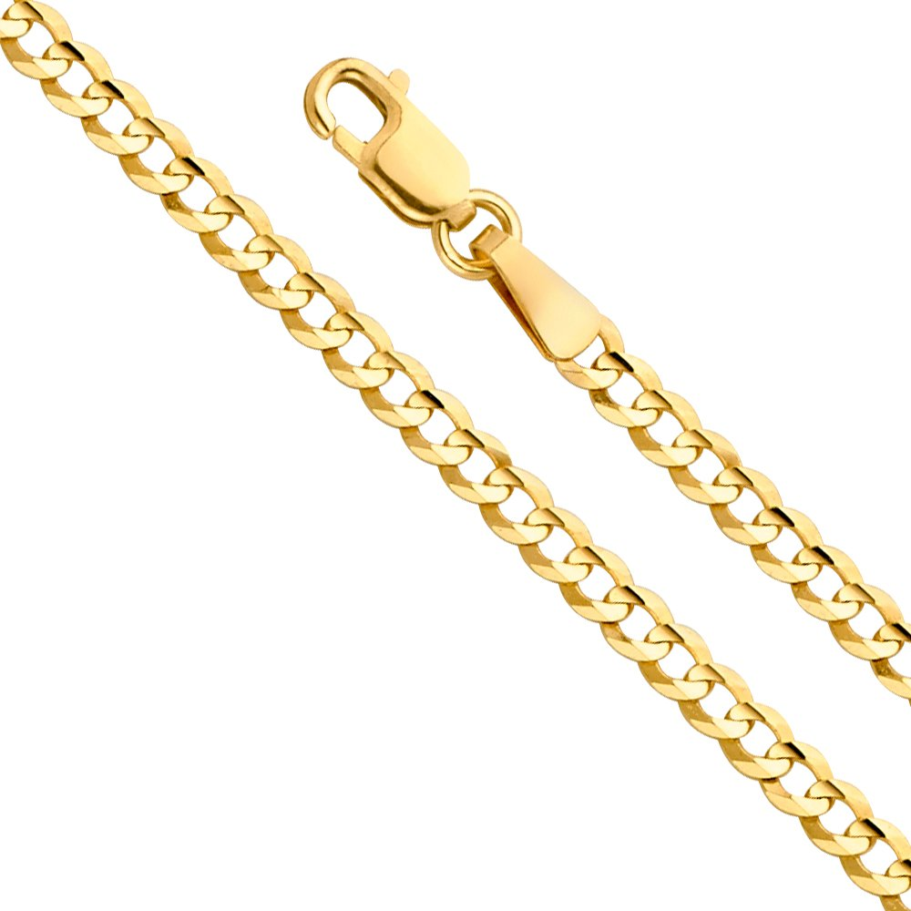 14k Yellow Gold SOLID 3mm Cuban Concave Curb Chain Necklace with Lobster Claw Clasp - 20''