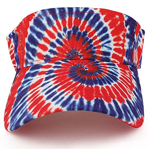 Trendy Apparel Shop Hippy Tie Dye Printed Colorful Cool Summer Visor Cap - Red Royal by Trendy Apparel Shop (Image #1)