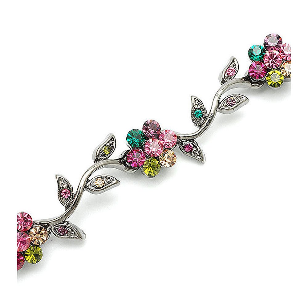 Glamorousky Leafy Flower Bracelet with Multi-colour Austrian Element Crystals (1457) Glamorousky Jewelry Glamorousky-1000001457