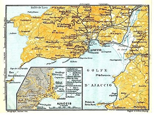 Map Of France And Corsica.Amazon Com Environs Of Ajaccio Corsica France 1914 Detailed Antique