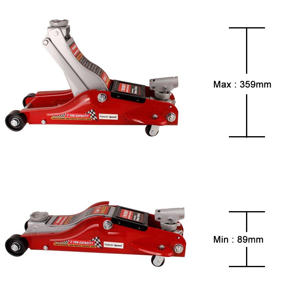 Forever Speed Gato Hidr/áulico 89 a 359 mm Capacidad de Carga 2 T,Altura de elevaci/ón