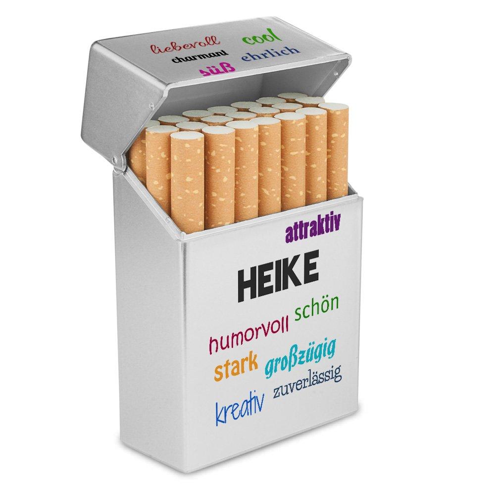 Personalisierte H/ülle mit Design Positive Eigenschaften Zigarettenetui Kunststoffbox Zigarettenschachtel Zigarettenbox mit Namen Heike