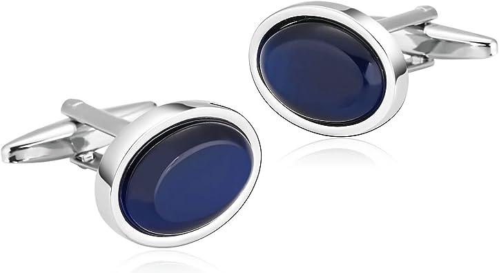 AnazoZ Gemelos Camisa Acero Gemelos para Camisa Oval Gemelos para Camisa Plata Azul Gemelos Camisa Hombre: Amazon.es: Joyería