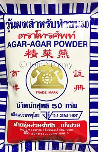 Price comparison product image Telephone Brand Agar Agar Organic Powder Nutrient Vegan for Cooking Dessert Gelatin Jelly Seaweed Fiber from Thailand 50g