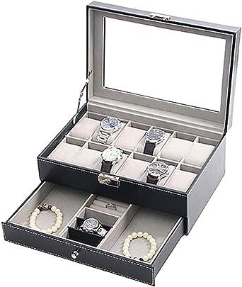 Caja De Relojes, Doble Diseño Estuche para Relojes, Tapa De Cristal, Piel Sintética, Reloj Caja De Almacenamiento (Color : A): Amazon.es: Relojes