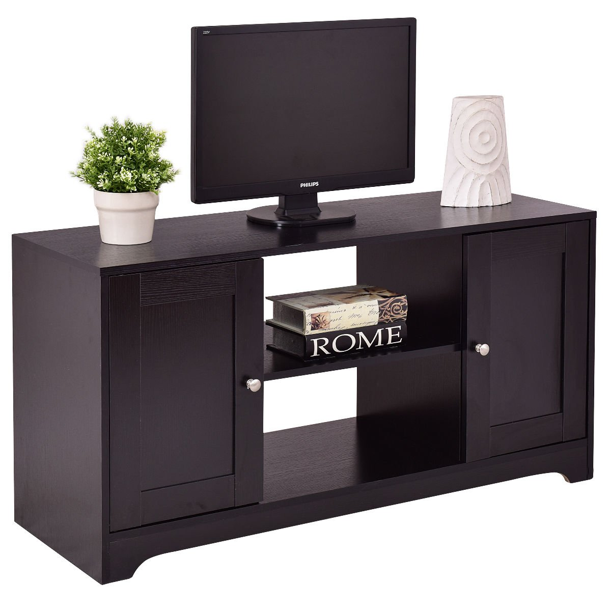 Wood Home Furniture TV Stand Entertainment Media Center Console Storage Cabinet