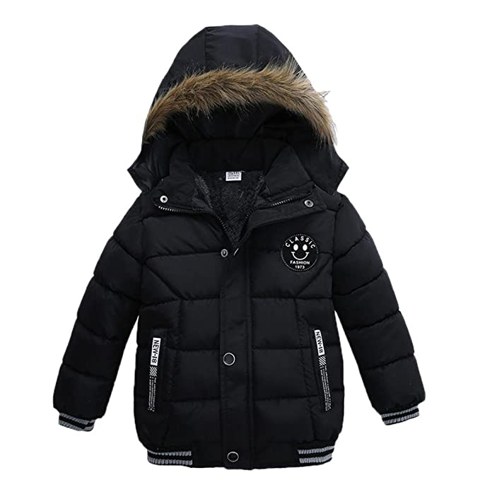 34b4b6fd790d Amazon.com  Vicbovo Toddler Baby Boy Kids Fashion Hooded Fur Thick ...