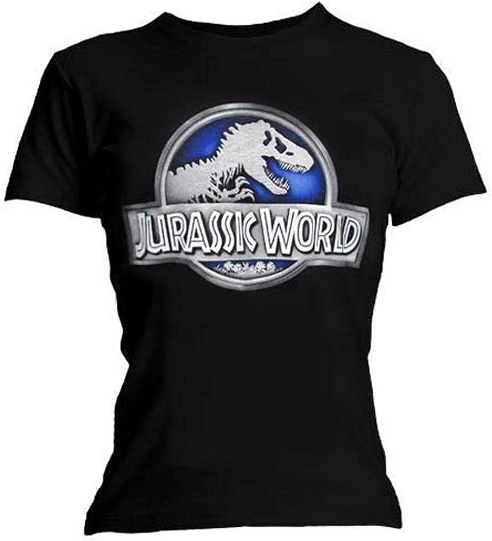 Mundo Jurásico (Jurassic Park) - Metálico Logo - Camiseta Oficial Mujer