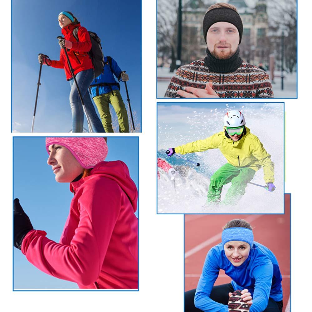 Lazzon Fascia Calda dellOrecchio Invernali 2 Pezzi Fascia Paraorecchie per Capelli a Copertura Totale per Fitness Sportivo Yoga Uomo Donna