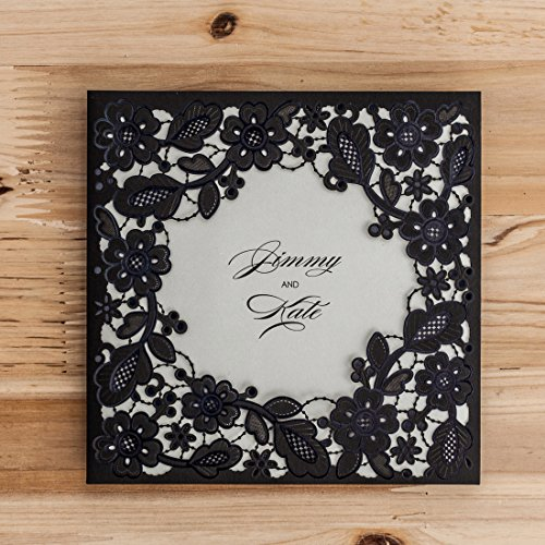 WISHMADE Wedding Invitation Cards 20pcs Laser Cut Black Floral for Engagement, Baby Shower, Wedding,Birthday Party with Envelopes,Stickers