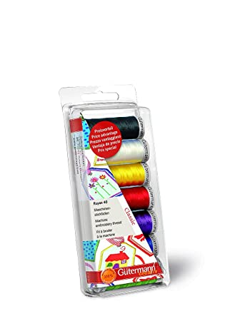 Gutermann Rayon 40 Classic- Juego de bobinas de hilo para máquina de coser (100 % viscosa), colores clásicos: Amazon.es: Hogar