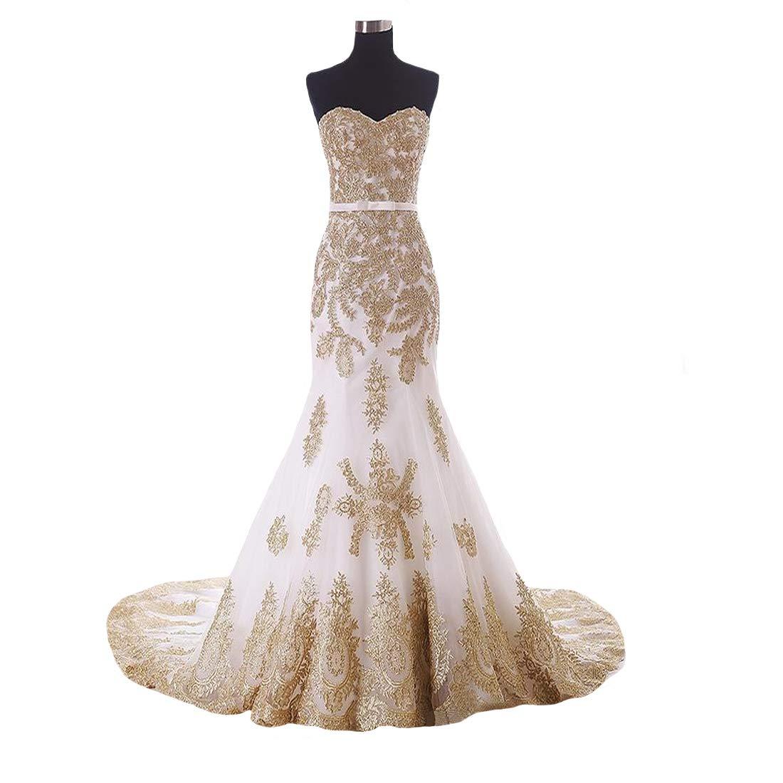 Dingdingmail Sexy Sweetheart Mermaid Wedding Dress 2019 Gold Lace