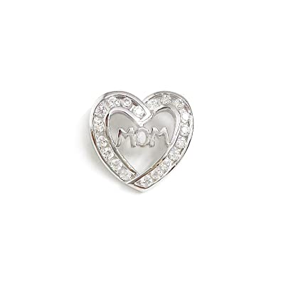 Amazon.com: .925 Sterling Silver Heart Shaped CZ Pave Frame MOM in ...