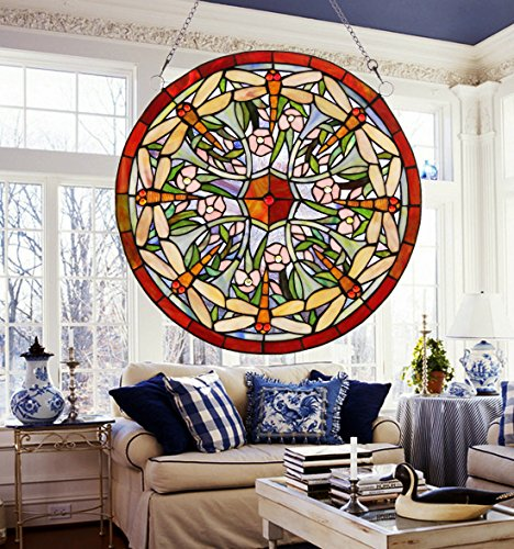Makenier Vintage Tiffany Style Stained Art Glass Dragonfly Window Panel Wall Hanging