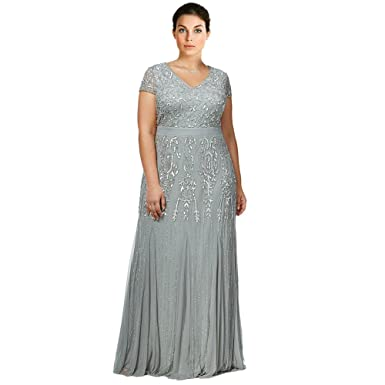 b9774760a78 Adrianna Papell Plus Size Beaded V-Neck Evening Gown Dress Gray at ...